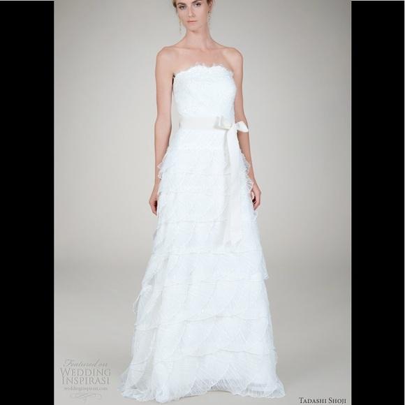 Tadashi Shoji Dresses Strapless Lace Sequins Wedding Gown Poshmark